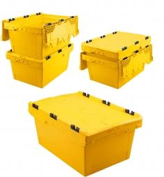 5x Universal Klappdeckelboxen, verplompbar, LxBxH 600 x 400 x 200 mm, 29 Liter, gelb