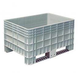 Palettenbox mit Außenrippen und 2 Kufen, Außenmaße LxBxH 1200x800x650 mm, grau