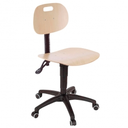 Arbeitsdrehstuhl nach DIN 68877, Sitz und Lehne aus Buchenschichtholz