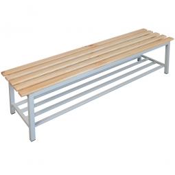 Sitzbank mit Schuhrost, BxTxH 1500 x 400 x 400 mm, Gestell RAL 7035 lichtgrau, Sitzfläche aus Naturholz