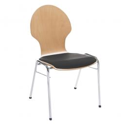 Holzschalen-Stapelstuhl, mit Sitzpolster schwarz, Gestell aus Rundrohr 20x1,5 mm, verchromt