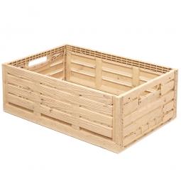 Klappbox im Holzdekor, geschlitzt, PP, LxBxH 600 x 400 x 220 mm, 44 Liter, beige