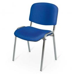 Polsterstuhl, blau, Gestell hochglanzverchromt, BxTxH 545x425x820 mm, Sitz BxTxH 475x415x470 mm