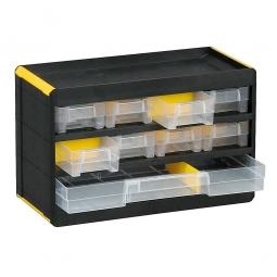 """Kleinteilemagazin """"Black"""" mit 9 Klarsichtboxen, BxHxT 300x190x135 mm, Gehäuse schwarz, Schubladen transparent"""