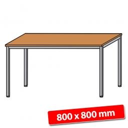 Schreibtisch mit Quadratrohr-Füßen, Farbe silber, Buche, BxTxH 800x800x680-760 mm