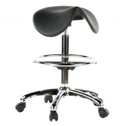 Sattelsitz-Hocker, schwarz, Sitzhöhe 600-850 mm, Sitzbreite geschwungen 460 mm