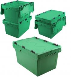 5x Universal Klappdeckelboxen, verplompbar, LxBxH 600 x 400 x 300 mm, 47 Liter, grün