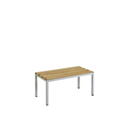 Sitzbank, BxTxH 800 x 390 x 410 mm, Gestell RAL 7035 lichtgrau, Sitzfläche aus Naturholz