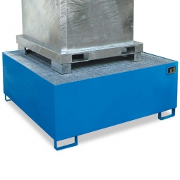 Auffangwannne für Tankcontainer, lackiert, BxTxH 1460x1460x620 mm, Unterfahrhöhe 100 mm