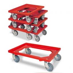 7er-Set Transportroller 600 x 400 mm, offenes Deck, 4 Lenkrollen, graue Gummiräder, rot