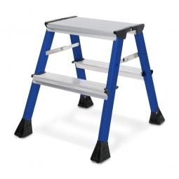 Alu-Doppel-Klapptritt, 2x 2 Stufen, blau, Standhöhe 440 mm, max. Arbeitshöhe 2440 mm, Gewicht 1,7 kg