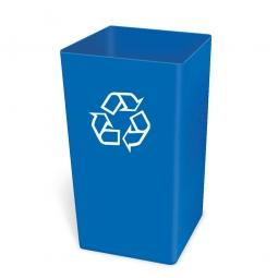 Abfallbehälter, rechteckig, 132 Liter, Polyethylen-Kunststoff, BxTxH 495 x 495 x 700 mm, Farbe blau mit RE-Symbol