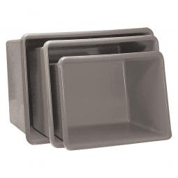 Rechteckbehälter aus GFK, Inhalt 700 Liter, grau, LxBxH 1320x970x810 mm, Gewicht 23 kg