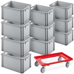 10x Euro-Stapelbehälter, Spar-Set, LxBxH 600 x 400 x 320 mm + GRATIS: 1 Transportroller