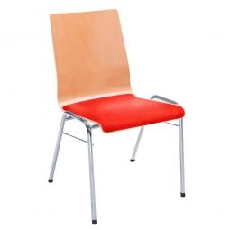 Holzschalen-Stapelstuhl, mit Sitzpolster rot, Gestell aus Rundrohr 20x1,5 mm, verchromt