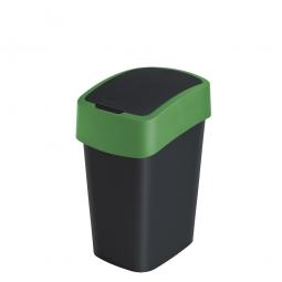 Abfallbehälter mit Schwing- oder Klappdeckel, PP, BxTxH 189x235x350 mm, Inhalt 10 Liter, schwarz/grün