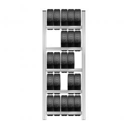 Reifenregal mit 5 Reifenebenen, verzinkt, Stecksystem, BxTxH 1130 x 425 x 3000 mm
