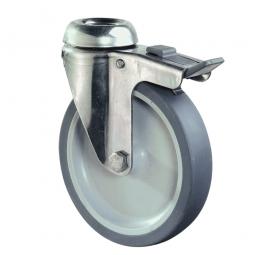 Apparate-Lenkrolle mit Feststellbremse, Rad-ØxB 125x28 mm, Tragkraft 70 kg