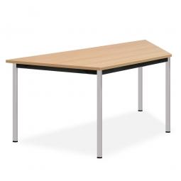 Trapeztisch, Beine verchromt, Platte Buche, BxTxH 1600x800x720 mm