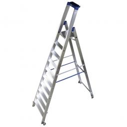 Alu-Stufenleiter mit 10 Stufen, fahrbar, Standhöhe 2350 mm, max. erreichbare Arbeitshöhe 4350 mm