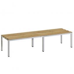 Sitzbank, BxTxH 1500 x 390 x 410 mm, Gestell RAL 7035 lichtgrau, Sitzfläche aus Naturholz