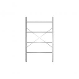 Aluminiumregal mit 4 geschlossenen Regalböden, Stecksystem, BxTxH 1200 x 400 x 2000 mm, Nutztiefe 340 mm