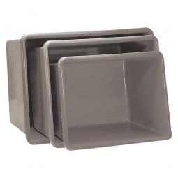 Rechteckbehälter aus GFK, Inhalt 200 Liter, grau, LxBxH 880x570x600 mm, Gewicht 8 kg