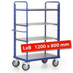 Hoher Etagenwagen mit 2 Gitterwänden/4 Ladeflächen, LxBxH 1390 x 800 x 1800 mm, Tragkraft 1200 kg