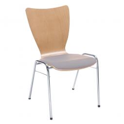 Holzschalen-Stapelstuhl, mit Sitzpolster grau, Gestell aus Rundrohr 20x1,5 mm, verchromt