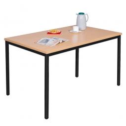 Kantinentisch, BxTxH 1600 x 800 x 750 mm, Gestell schwarz, Tischplatte Buche-Dekor, 25 mm stark