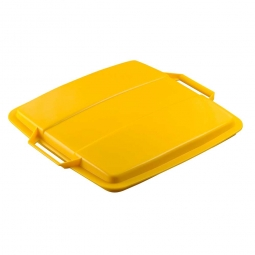 Deckel für Abfall- und Wertstoffbehälter 90 Liter, mit Griffen für leichtes Abnehmen, eckig, gelb