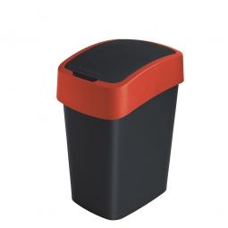 Abfallbehälter mit Schwing- oder Klappdeckel, PP, BxTxH 260x340x470 mm, Inhalt 25 Liter, schwarz/rot
