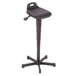 Stehhilfe, Fuß und Gestell aus Stahlrohr, schwarz, Sitz aus pflegeleichtem, strapazierfähigem PU-Schaum