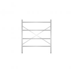 Aluminiumregal mit 4 geschlossenen Regalböden, Stecksystem, BxTxH 1400 x 500 x 1600 mm, Nutztiefe 440 mm