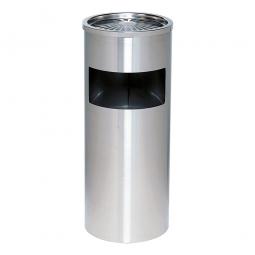 Abfallbehälter mit Ascher aus Edelstahl, ØxH 250 x 610 mm, 40 Liter