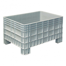Palettenbox mit Außenrippen und 4 Füßen, Außenmaße LxBxH 1200x800x650 mm, grau