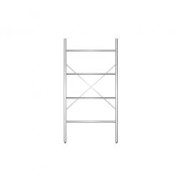 Aluminiumregal mit 4 geschlossenen Regalböden, Stecksystem, BxTxH 1000 x 400 x 2000 mm, Nutztiefe 340 mm