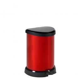 Tret-Abfalleimer, 20 Liter,HxBxT 445x310x308 mm, Polypropylen-Kunststoff, Deckel schwarz, Korpus metallic-rot