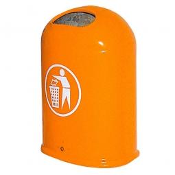 Feuerverzinkter Abfallbehälter mit Bodenklappe, 45 Liter, orange, BxTxH 430x330x600 mm