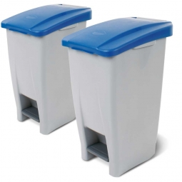 Spar-Set, 2x 60 Liter Tret-Abfallbehälter, BxTxH 380 x 490 x 700 mm, Deckelfarbe blau