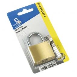 Vorhängeschloß Messing, 3 Schlüssel, Breite 38 mm, gehärteter Bügel, Stärke 6,2 mm, Bügelweite 20 mm