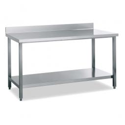 Arbeitstisch mit Aufkantung 40 mm, Edelstahl, CNS 18/10, höhenverstellbar von 850 auf 900 mm