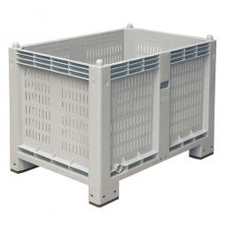 Palettenbox mit 4 Füßen, LxBxH 1200x800x850 mm, grau, Wände durchbrochen/Boden geschlossen