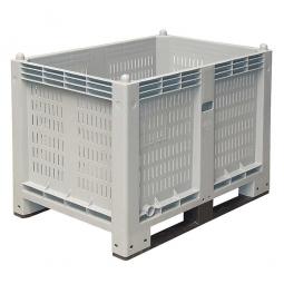 Palettenbox mit 2 Kufen, LxBxH 1200x800x850 mm, grau, Wände durchbrochen/Boden geschlossen
