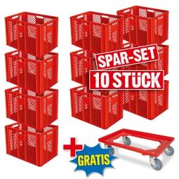 10x Euro-Stapelbehälter + 1 Transportroller GRATIS, Farbe rot, LxBxH 600 x 400 x 410 mm