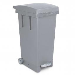 Tret-Abfallbehälter mit Rollen, grau, BxTxH 370x510x790 mm, Inhalt 80 Liter