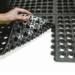 Arbeitsplatzmatte, Oberfläche offen, LxBxH 900x900x16 mm, Nitril-Gummimischung, schwarz