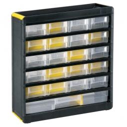 """Kleinteilemagazin """"Black"""" mit 21 Klarsichtboxen, BxHxT 300x334x135 mm, Gehäuse schwarz, Schubladen transparent"""