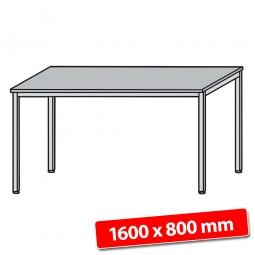 Schreibtisch mit Quadratrohr-Füßen, Farbe silber, Lichtgrau, BxTxH 1600x800x680-760 mm