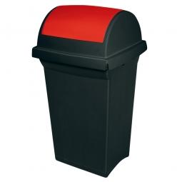 Schwingdeckel-Abfallbehälter rot/anthrazit, LxBxH 430 x 390 x 760 mm, 50 Liter, Polypropylen-Kunststoff